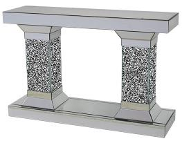 Diamond Crush Mirrored Double Column Console Table