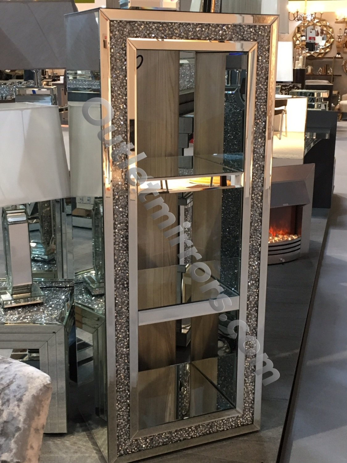 New Diamond Crush Sparkle Crystal Mirrored Block Display