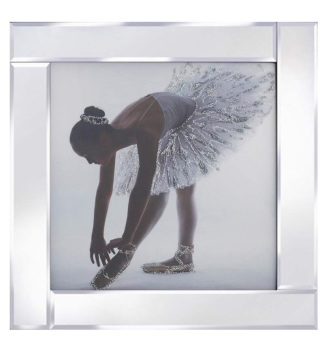 """Mirror framed art print """"Glitter Sparkle Ballerina Shoe"""""""