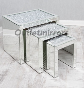 * Diamond Crush Crystal large Nest of 3 Tables item in stock