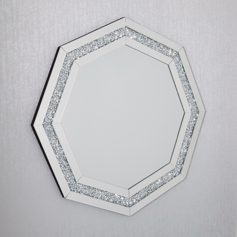 New Diamond Crush Sparkle Hex Shaped Wall Mirror 80cm X 80cm