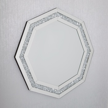 Diamond Crush Sparkle Hex Shaped Wall Mirror 80cm x 80cm