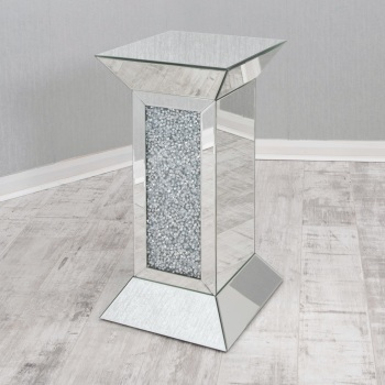 * New Diamond Crush Sparkle Crystal  Mirrored Pedestal Lamp Table 75cm x 40cm