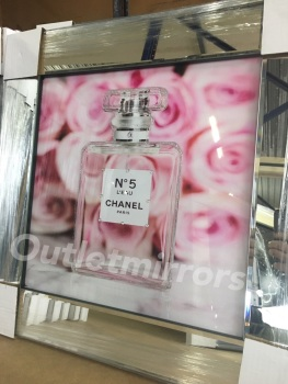 "Mirror framed Sparkle Glitter Art ""Chanel no5 Perfume"""