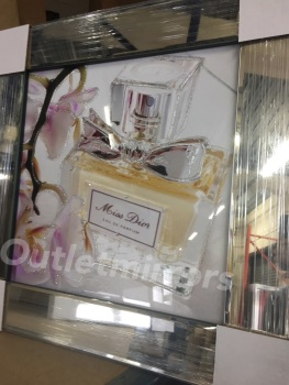 "Mirror framed Sparkle Glitter Art ""Miss Dior Perfume item in stock"