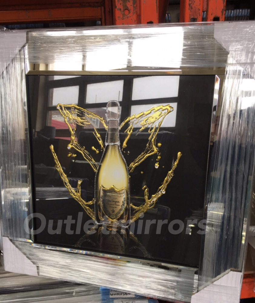 ** Brut Chandon Glitter Art Mirrored Frame ** 57cm x 57cm