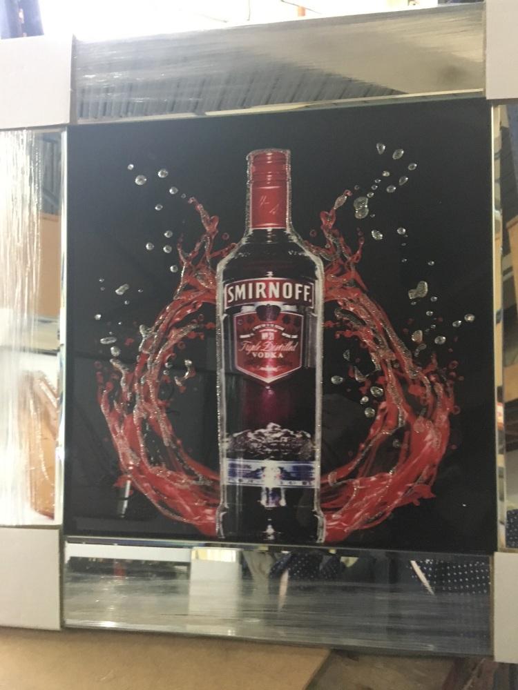 ** Smirnoff Vodka 2 Glitter Art Mirrored Frame ** 57cm x 57cm