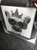 "Mirror framed Sparkle Glitter Art ""French Bulldog with sunglasses"""