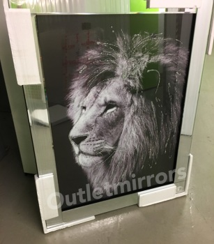"Mirror framed ""Sparkle Lion head"" Wall Art"