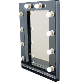 Crystal border Smoked Grey Hollywood Mirror