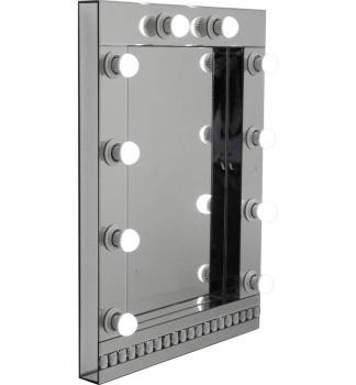 Silver Hollywood Mirror with crystal design 80cm x 60cm