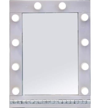 Crystal Border White Hollywood Mirror