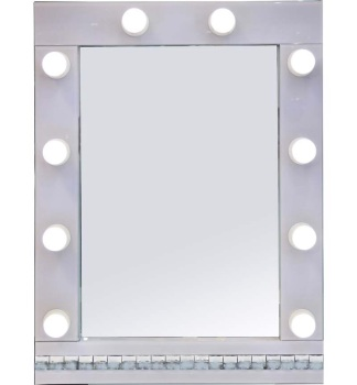 White Hollywood Mirror with crystal design 80cm x 60cm