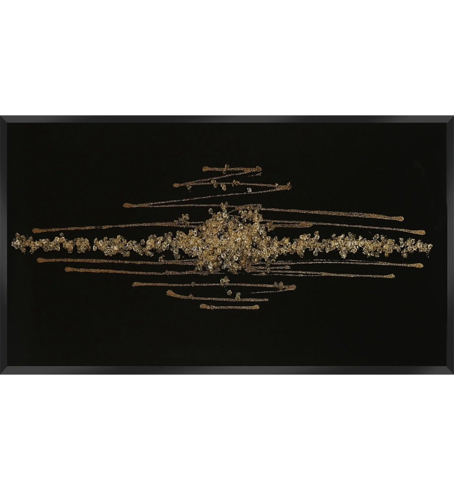 Cluster Explosion in Gold on a Black Bevelled Mirror 120cm x 60cm