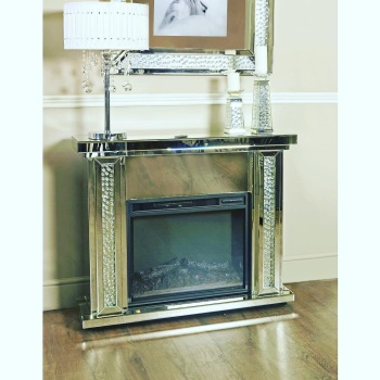 Floating Crystal Mirrored Fire Surround with electric fire - in stock