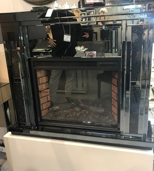Special offer Crush Sparkle Smoked Mirrored Fire Surround with electric fire