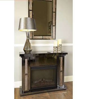 Crush Sparkle Mirrored copper trim fire Surround  with electric fire