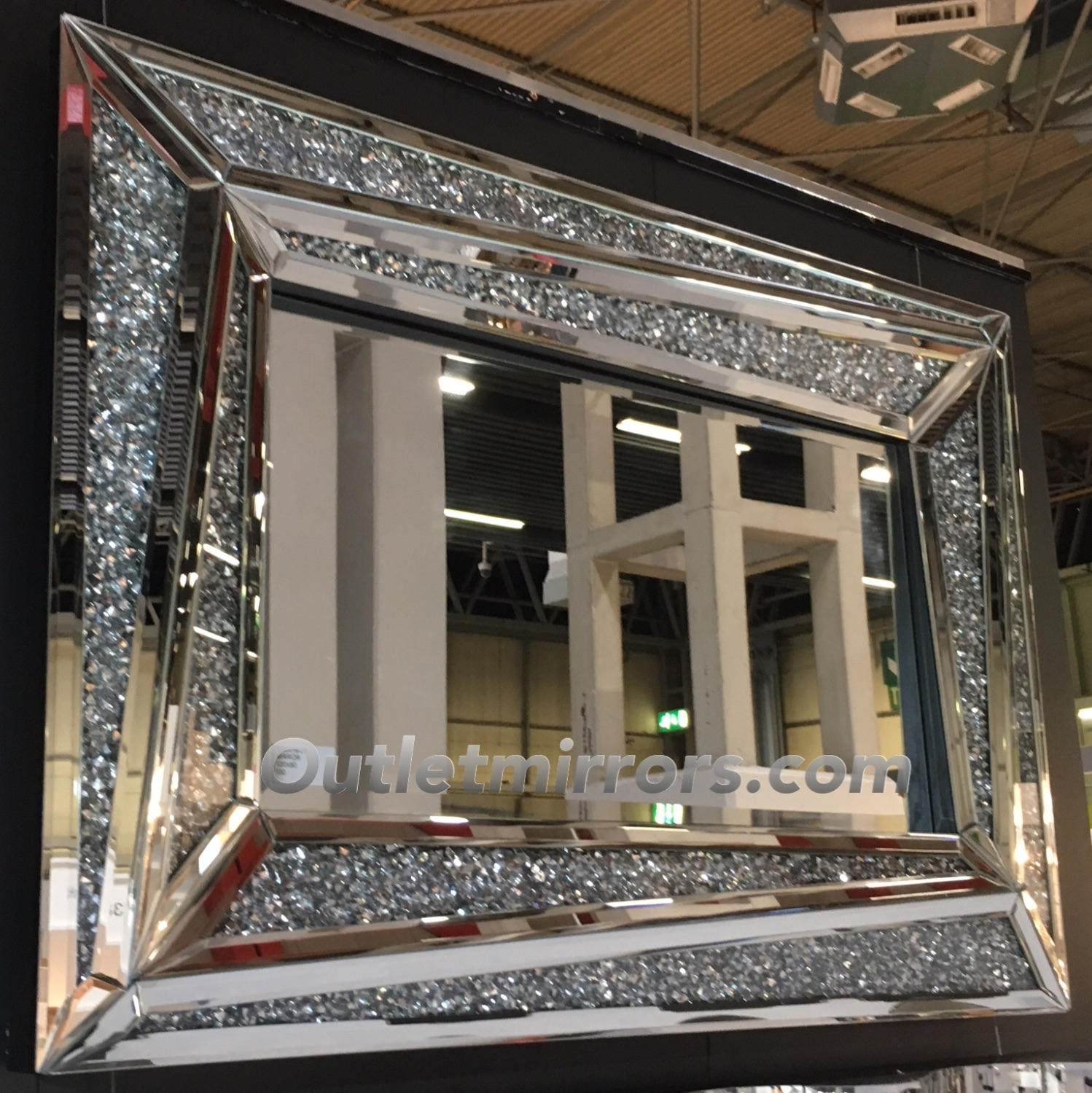 New Diamond Crush Sparkle Alfonso Wall Mirror 120cm X 80cm Item In Stock