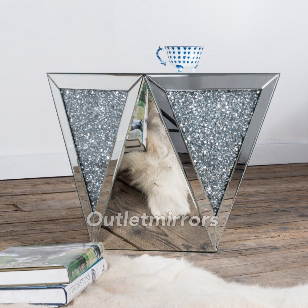 New Diamond Crush Sparkle Crystal Mirrored Lamp Table