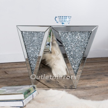 * New Diamond Crush Sparkle Crystal Mirrored Lamp Table