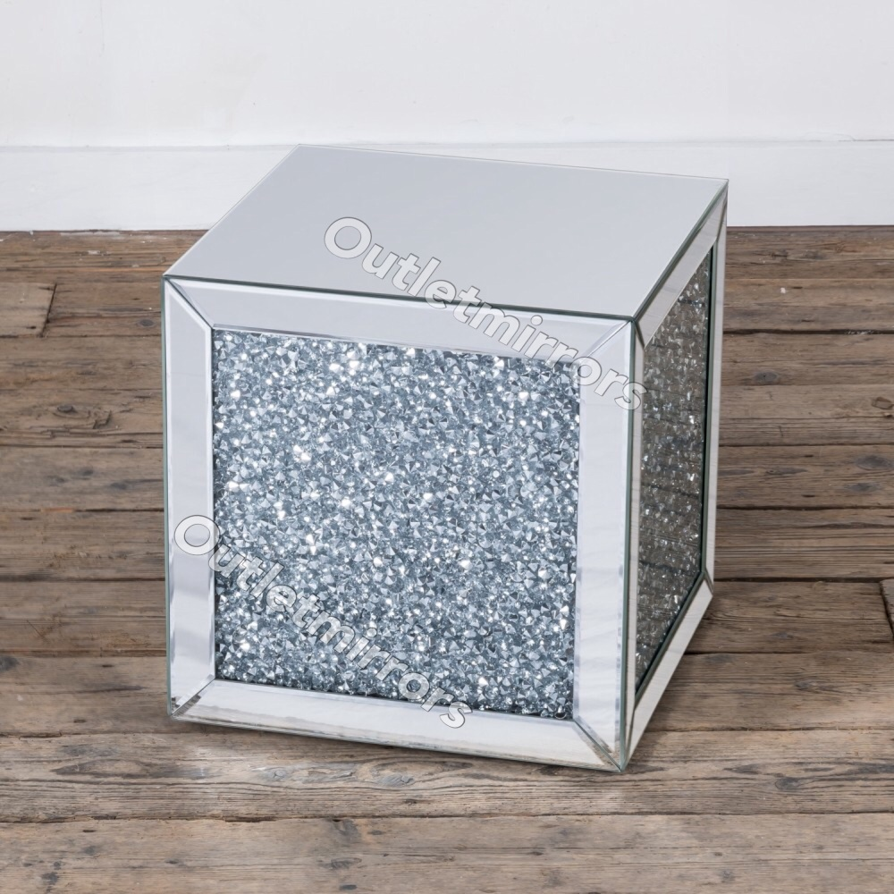 New Diamond Crush Sparkle Crystal Mirrored Cube Lamp