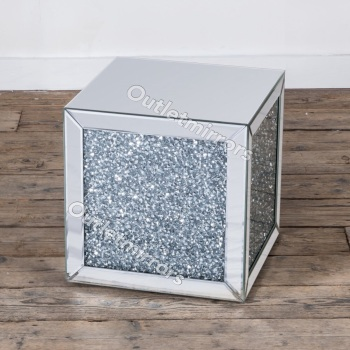 * New Diamond Crush Sparkle Crystal Mirrored Cube Lamp Table item in stock