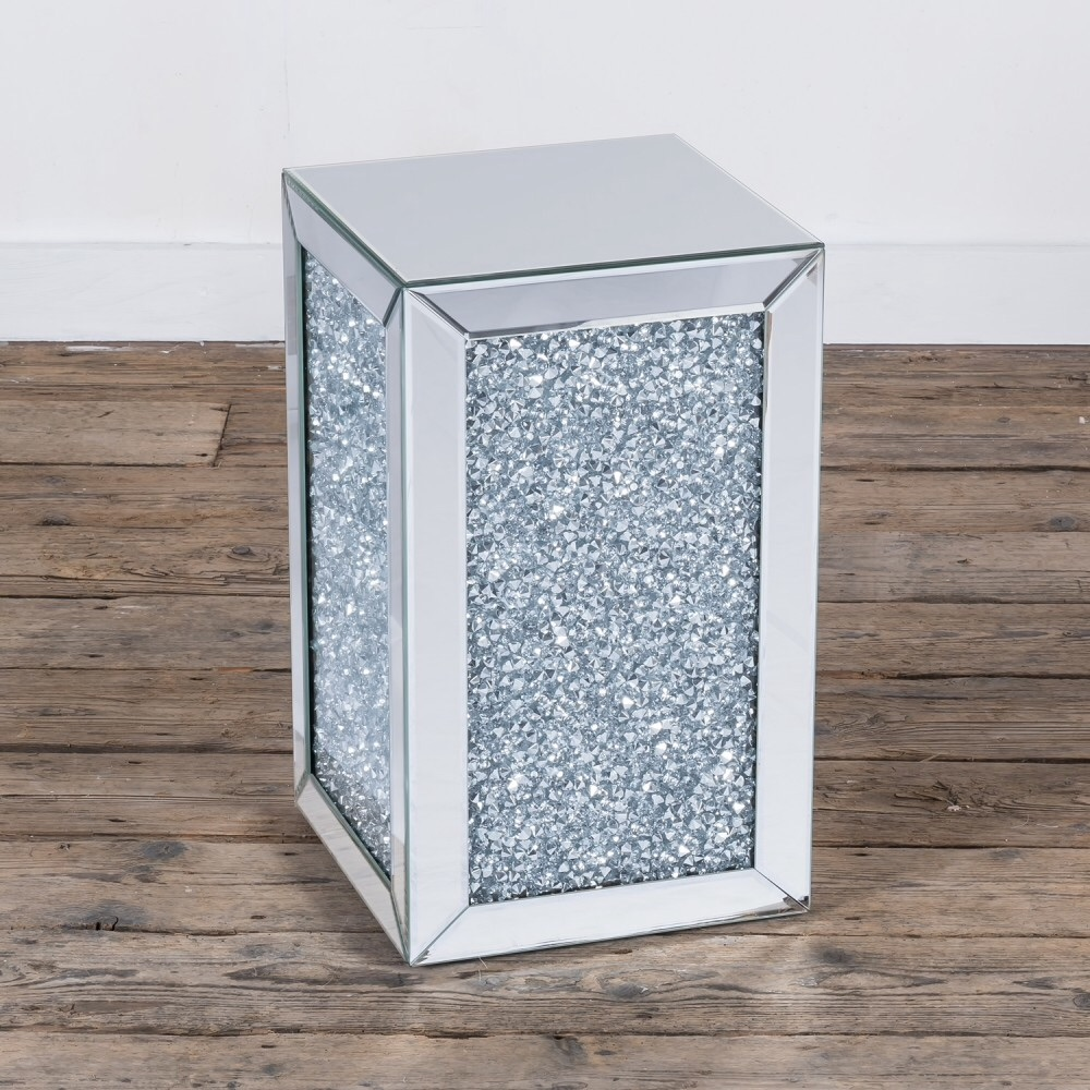 Crushed Diamond Mirrored Coffee Table: * New Diamond Crush Sparkle Crystal Mirrored Cube Lamp Table