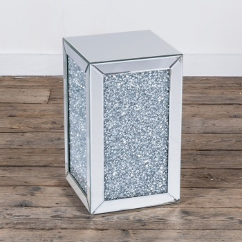 * New Diamond Crush Sparkle Crystal Mirrored Cube Lamp Table