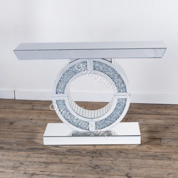 *Diamond Crush Crystal Sparkle Oval Console Table
