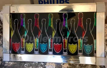 ** Champagne Bottle Glitter Art in a Mirrored Frame ** 115cm x 65cm  in stock for a quick delivery