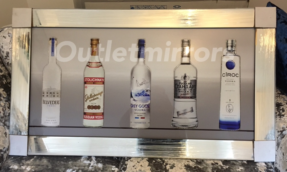 ** Vodka Bottle Glitter Art in a Mirrored Frame ** 115cm x 65cm