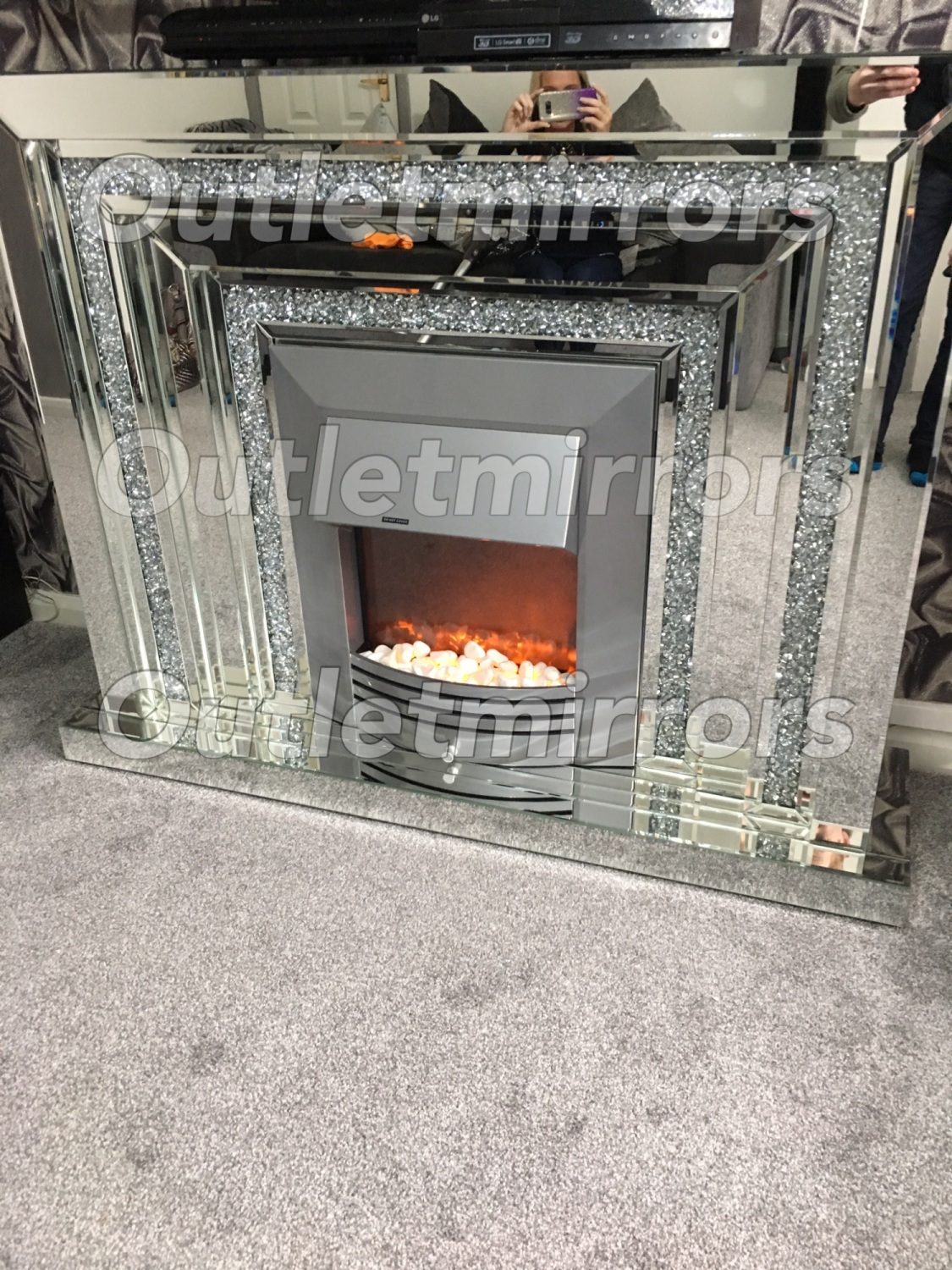 Diamond Crush Sparkle Mirrored Fire Surround With Electric Fire Free Delivery In Stock No