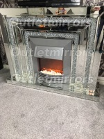 * Diamond crush sparkle Levels Mirrored Fire Surround with electric fire