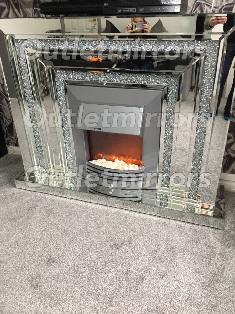 *Diamond crush sparkle Mirrored Fire Surround with electric fire
