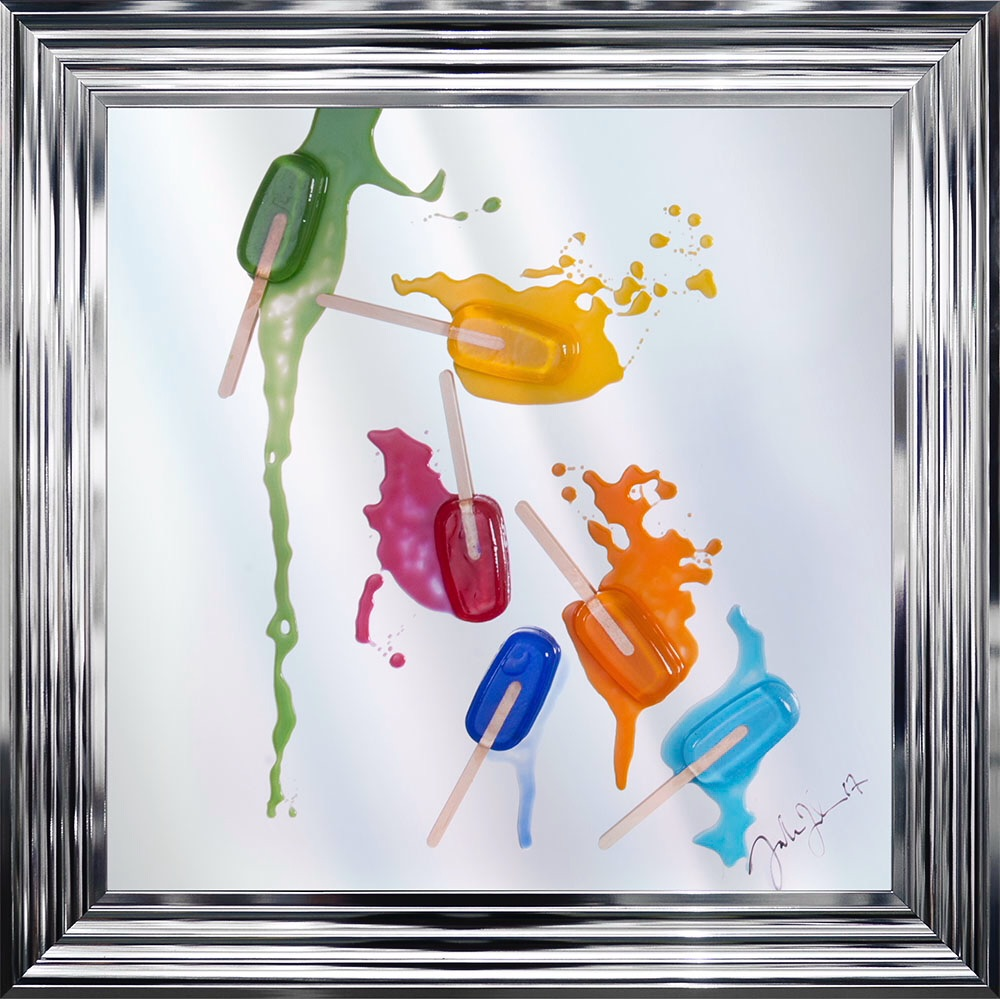 Jake Johnson 3D colourful Ice Pops wall art on a Mirror background in choic