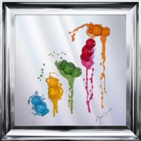 Jake Johnson 3D colourful falling Jelly Babies wall art on a Mirror background in choice of frames in stock