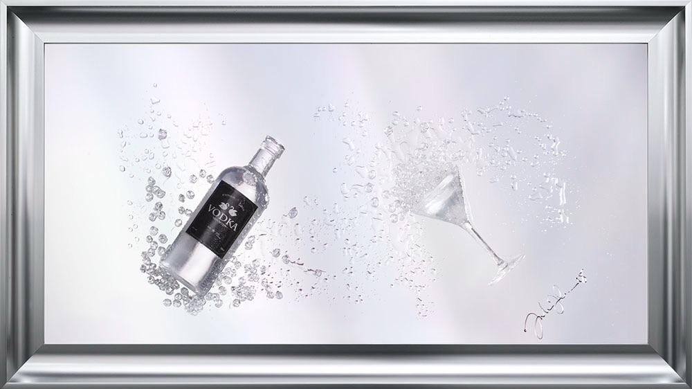 Jake Johnson 3D Vodka wall art on a Silver mirror backing Various frame cho