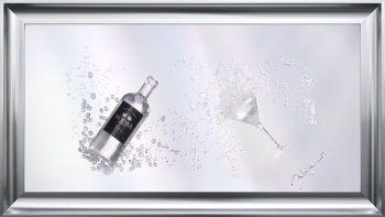 Jake Johnson 3D Vodka wall art on a Silver mirror backing Various frame choices - in stock in chrome stepped frame