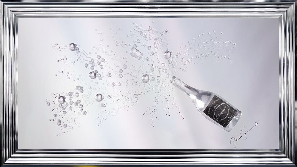 Jake Johnson 3d Champagne Wall Art On A Silver Mirror