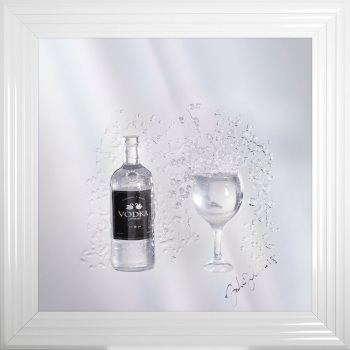 Jake Johnson 3D Vodka wall art on a Silver mirror backing Various frame choices