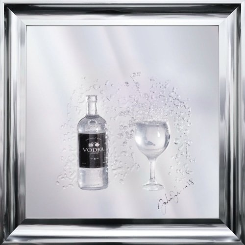 Jake Johnson 3D Vodka wall art on a Silver mirror backing Various frame cho