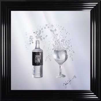Jake Johnson 3D Gin wall art on a Silver mirror backing Various frame choices