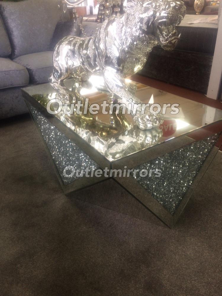 * New Diamond Crush Sparkle Crystal rectangular Mirrored Coffee Table