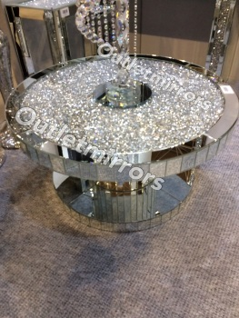 * New Diamond Crush Sparkle Crystal Round Mirrored Coffee Table in stock