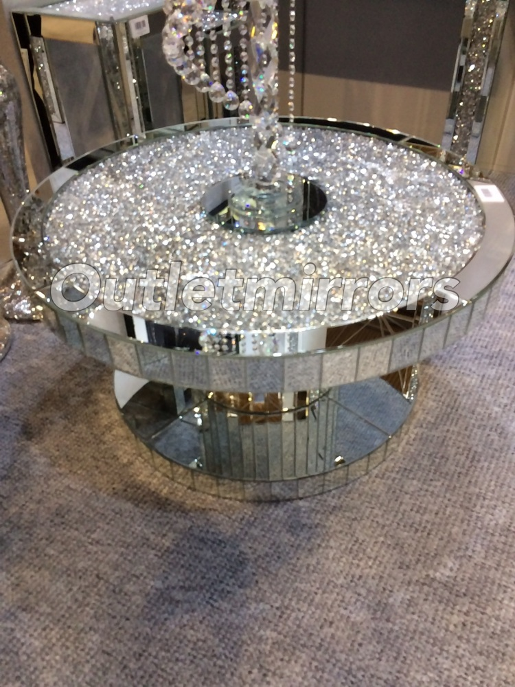 New Diamond Crush Sparkle Crystal Round Mirrored Coffee Table In Stock