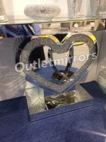 *Diamond Crush Crystal Sparkle Heart Console Table