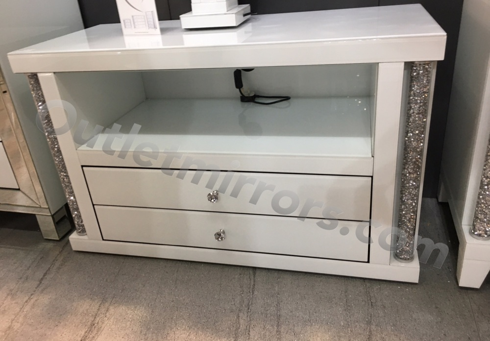 * Diamond Crush Crystal white 2 Draw TV Entertainment unit