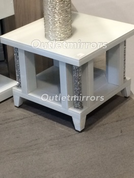 * Diamond Crush Crystal white Pillar Lamp Table