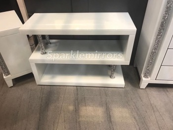 * Diamond Crush Crystal white 3 Tier Shelf Unit