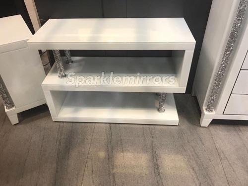 * Diamond Crush Crystal white 3 Tier Shelf Unit